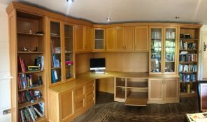 1 x Solid Wood Home Office Featuring Desk Space, PC Tower Holder, Pull Out Office Shelf, Display