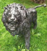 1 x Majestic Realistic Giant 1.6 Metre Tall Solid Bronze Standing Male Lion Garden Sculpture,