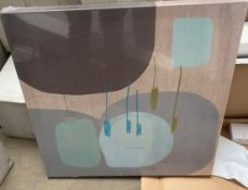 3 x Assorted Abstract Art Prints On Canvas - Artist Include Derek Melville and Claire O'Hea - New