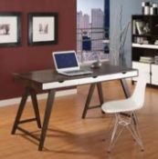 1 x Blue Suntree Ellwood Trestle Desk With a Dark Walnut Finish and Three White Storage Drawers -