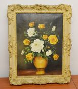 1 x Framed Picture Of Flowers - Dimensions: 50 x 40cm - Ref: MD163 / WH1 D-OFF - Pre-owned, From A
