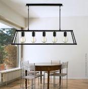 1 x Voyager Matt Black 5-Light Lantern Bar Light With Clear Glass Panels - New Boxed Stock - CL323 -