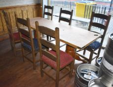 1 x Rectangular Pub Table With Large Claw Feet Pedestals and 6 x Chairs - CL586 - Location: