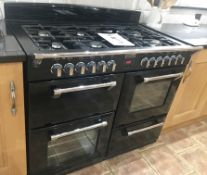 1 x Stoves Richmond 1100DF Dual Fuel Range Cooker With Matching Extractor Hood - Black Finish With 4
