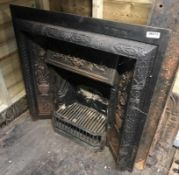 1 x Ultra Rare Stunning Antique Victorian Cast Iron Fire Insert With Ornate Cast Iron Tiles To