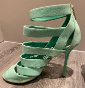 1 x Pair Of Genuine Jimmy Choo High Heel Shoes In Mint Green - Size: 36 - Preowned in Worn Condition
