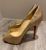 1 x Pair Of Genuine Christain Louboutin High Heel Shoes In Gold - Size: 36.5 - Preowned in Worn