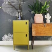 1 x WOOOD 'NICO' Contemporary 2-Door Cabinet In Mustard With Leather Handles - Brand New Boxed Stock