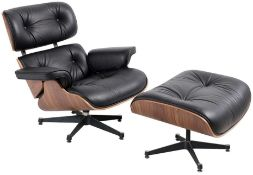 1 x Eames Inspired Lounge Chair With Matching Ottoman Footrest - Timeless Retro Design With Black