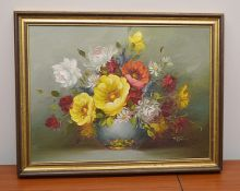 1 x Original Oil Painting Of Flowers On Canvas - Signed By The Artist - Dimensions: 36 x 46cm - Ref: