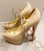 1 x Pair Of Genuine Christain Louboutin High Heel Shoes In Crème - Size: 36 - Preowned in Very Worn