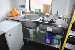 1 x Sissons Twin Bowl Sink Unit With Mixer Taps - 180cm Wide - CL586 - Location: Stockport SK1