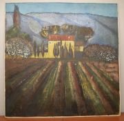 1 x Original Signed Painting Of A Farmhouse In France By Lydia Bauman (1998) - Dimensions: 122 x
