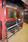 1 x Tom Chandley Double C5 60X40 Pie Oven With Stainless Steel Baking Tray Prep Bench - CL455 -