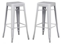 2 x Xavier Pauchard / Tolix Inspired Industrial WHITE Bar Stools - Pair of - Lightweight and Stackab