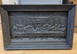 1 x Heavy Solid Cast Iron Rectangular Sculpture Featuring The Famous 'Last Supper' Scene -