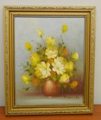 1 x Original Oil Painting Of Flowers On Board - Signed By The Artist - Dimensions: 25 x 30cm -