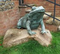 1 x Gigantic Bronze Sculpture of Frog Verdigris Sitting On A Large Rock, With Water Spout In