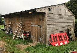1 x Large Timber Stable Outbuilding Incorporating 3 Sections / Stables storage areas - Ref:
