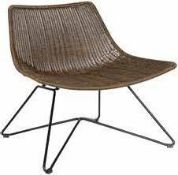 1 x WOOOD Designs 'OTIS' Indoor / Outdoor Chair In BROWN With Metal Base - Dimensions: H77.5 x W65 x