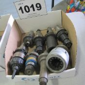 LOT OF 8 CAT 40 TOOL HOLDERS WITH ATTACHMENTS