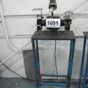 """TMT BENCH TOP DUAL 6"""" GRINDER/ POLISHER WITH METAL TABLE AND LAMP"""