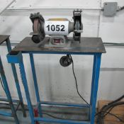 """TRADE MASTER BENCH TOP DUAL 6"""" GRINDER/ POLISHER WITH METAL TABLE AND LAMP"""