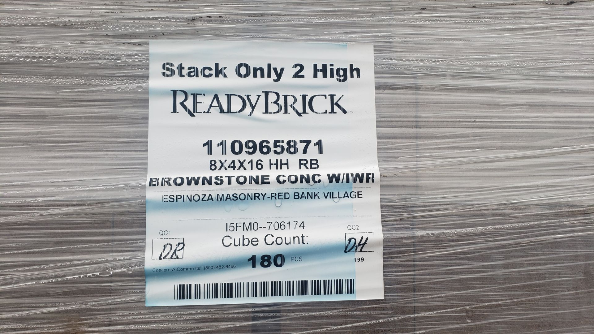 Lot 41 - (42) Skids ReadyBrick 8x4x16 HH RB, Brownstone Conc W/IWR 180 count per skid