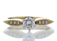 18ct Single Stone Claw Set With Stone Set Shoulders Diamond Ring 0.42 Carats - Valued by AGI £1,