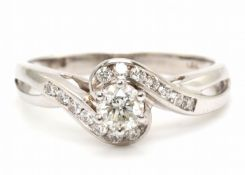 18ct White Gold Single Stone Twist Shoulders Diamond Ring 0.54 Carats - Valued by AGI £2,160.00 -