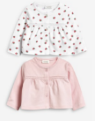 BRAND NEW - NEXT - Ecru/Pink Jersey Cardigans Two Pack SIZE NEWBORN RRP £9
