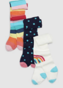 BRAND NEW - NEXT - Multi Rainbow Tights Three Pack SIZE 0-3MONTHS RRP £9.50