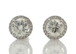 18ct White Gold Single Stone Halo Set Earrings Valued by GIE £86,345.00