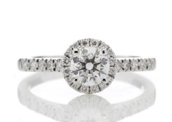 18ct White Gold Single Stone Halo Diamond Ring (0.50) 0.70 Carats - Valued by GIE £13,250.00
