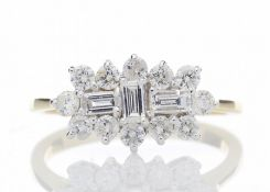 18ct Yellow Gold Boat Shape Diamond Cluster Ring 1.00 Carats - Valued by GIE £11,955.00