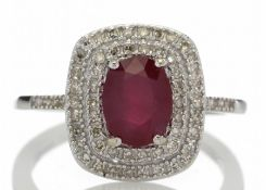 9ct White Gold Oval Ruby And Diamond Cluster Diamond Ring Valued by GIE £3,470.00