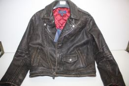 GRADE A- BRAND NEW WITH TAGS RALPH LAUREN GENUINE LEATHER JACKET, SIZE- 10-12YEARS, INCLUDES TAGS,
