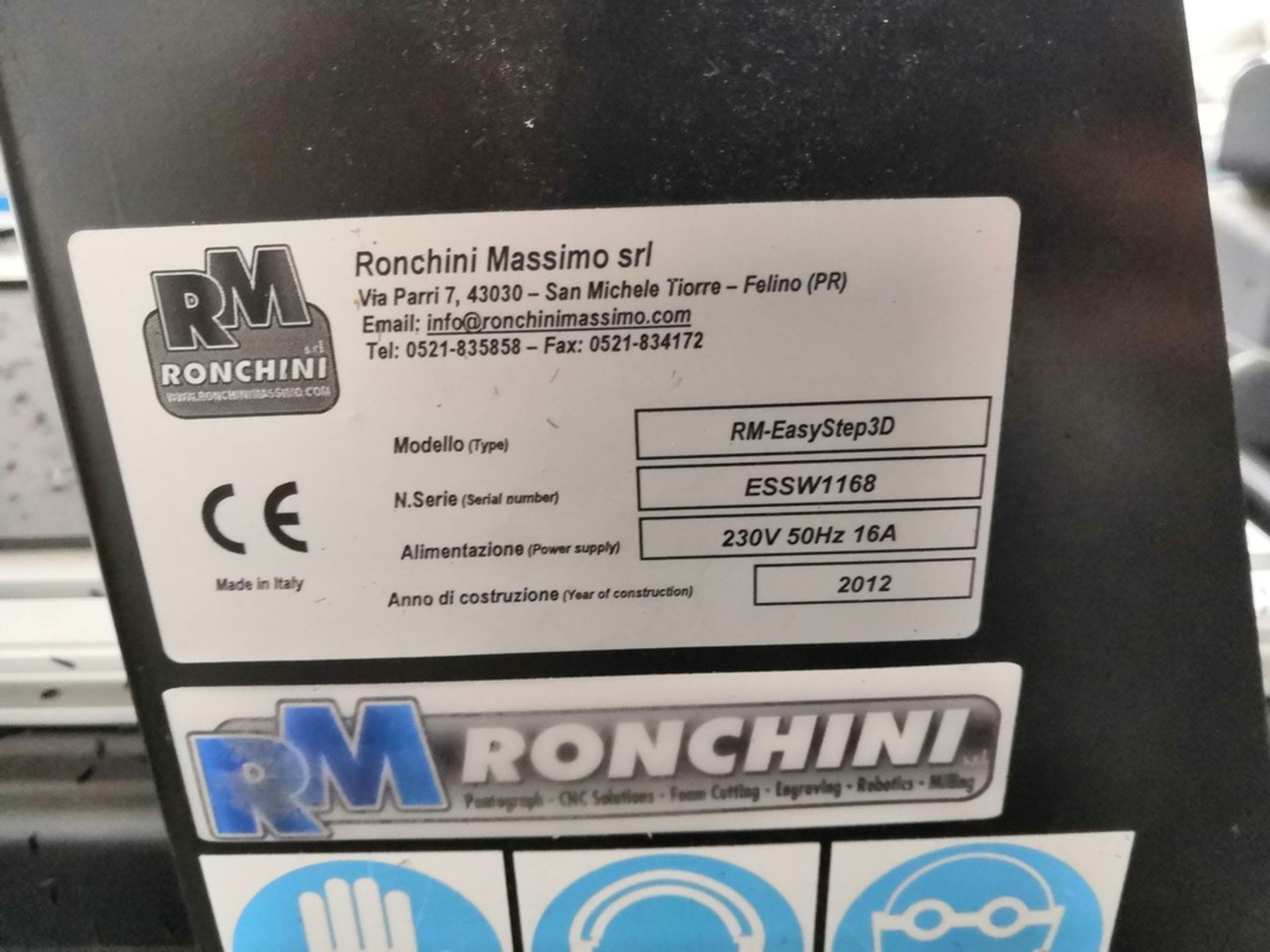Lot 616 - N. 98 (FALLIMENTO N. 782) FRESATRICE CNC RM (RONCHINI MASSIMO) EASYSTEP 3D 800, SN. ESSW1168, ANNO