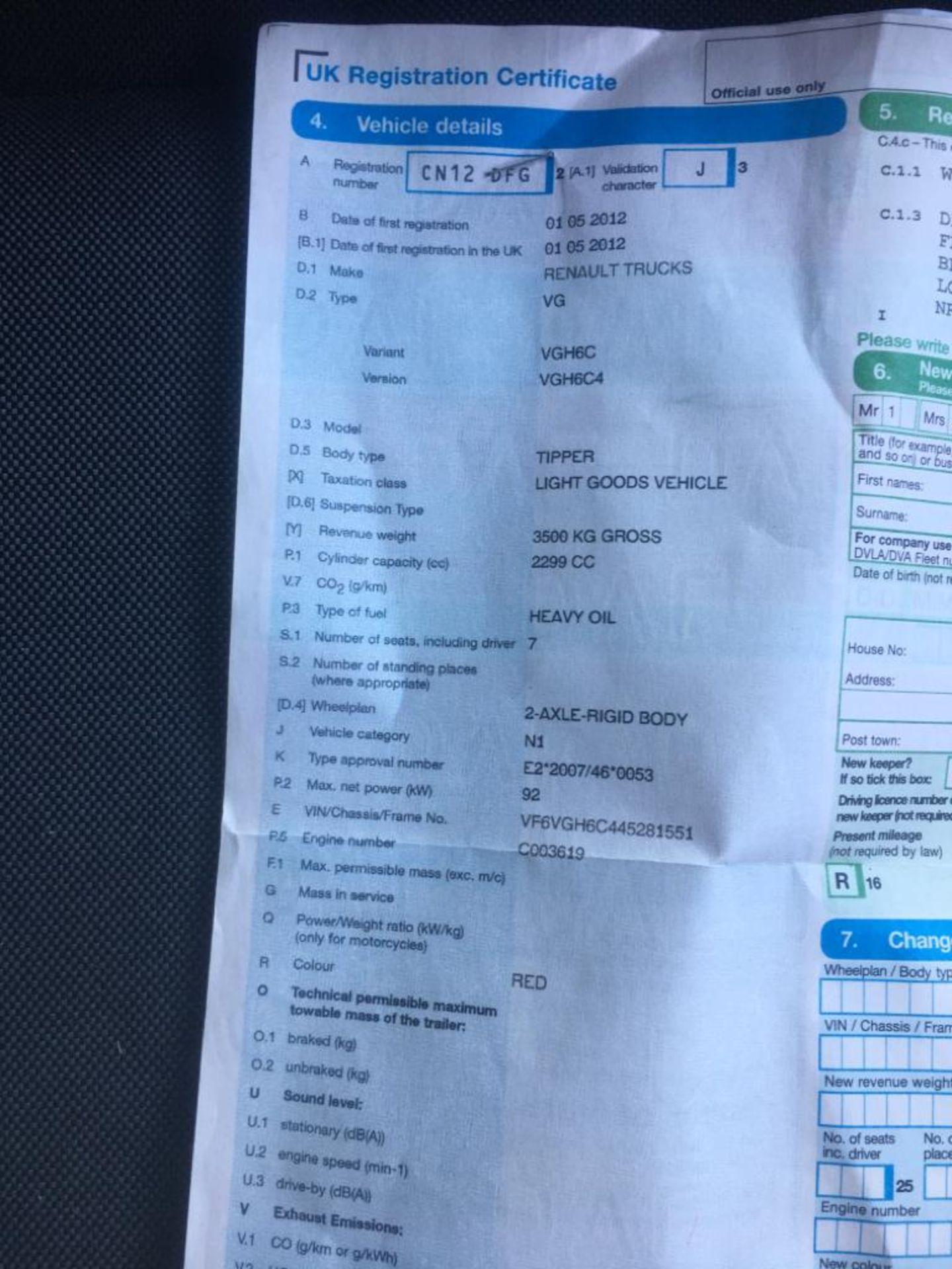 Lot 4 - 2012 RENAULT TRUCKS TIPPER 2.3 DOUBLE CAB