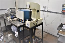 OXFORD ROCKWELL HR-150A HARDNESS TESTER ON STAND WITH SOME TOOLING