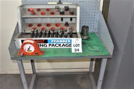 1 X STEEL BENCH & BRIDGEPORT TOOL HOLDER PACKAGE WITH HEADS, COLLETS & CUTTERS & 1 X TORQUELEADER