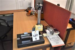 1 X MITUTOYO SU400 SURFACE ROUGHNESS TESTER & PRINTER ON GRANITE BASE WITH MAGNETIC V BLOCK