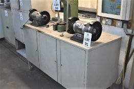 1 X STEEL ENGINEERS BENCH 1540 X 640 INC 2 X TWIN HEAD BENCH GRINDERS & ANY CONTENTS