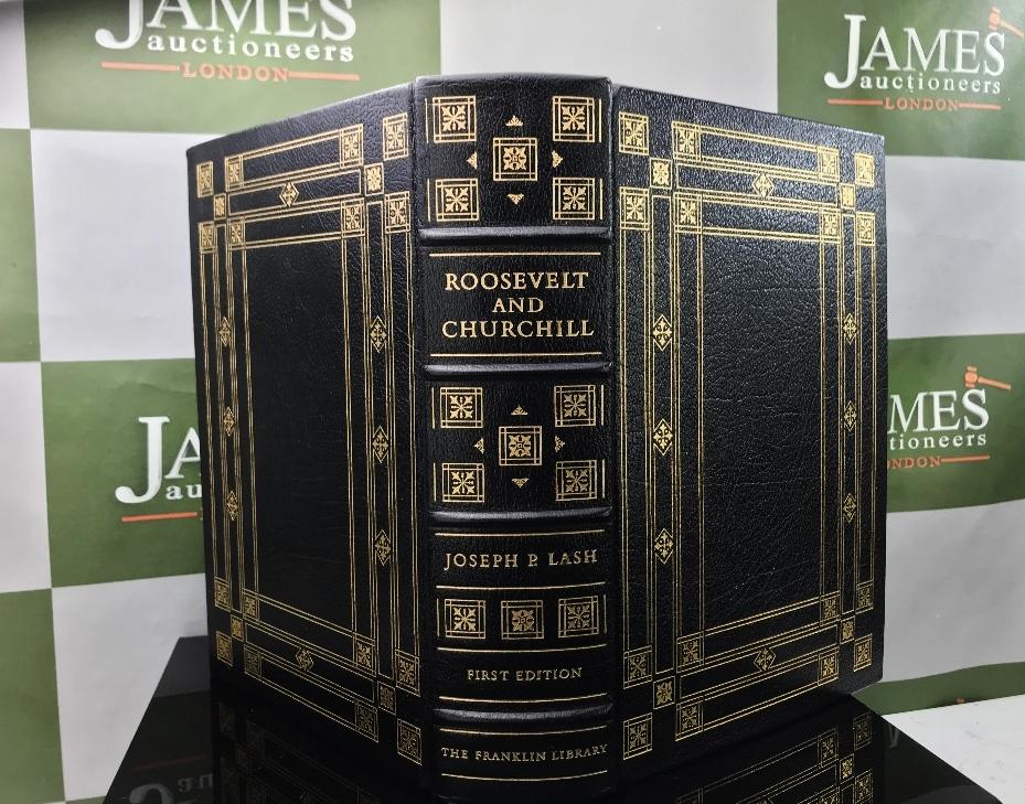 Lot 5 - Roosevelt & Churchill Gold Leaf 1st Edition By Joseph P Lash, Ltd Edition Hardback