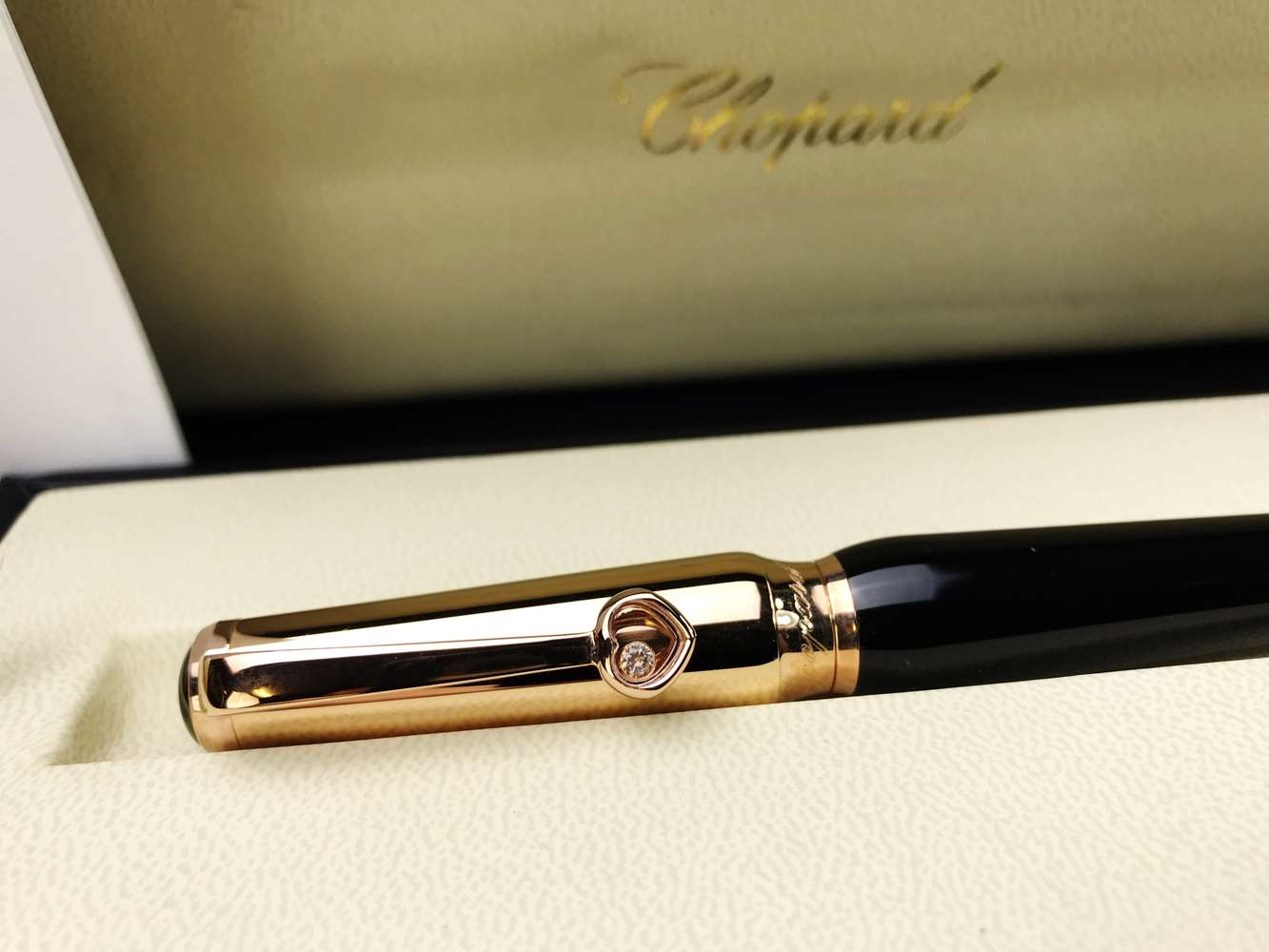 Lot 8 - Chopard Happy Diamond Rose Gold Ltd Edition Rollerball Pen-New.