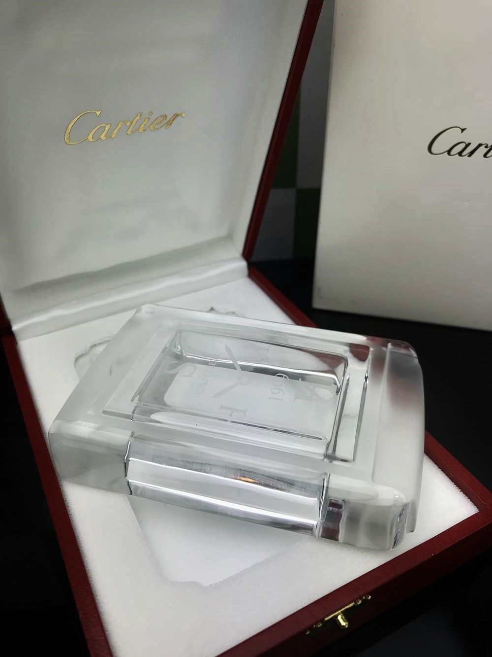 Lot 6 - Cartier Frosted Clock Paperweight In Original Box