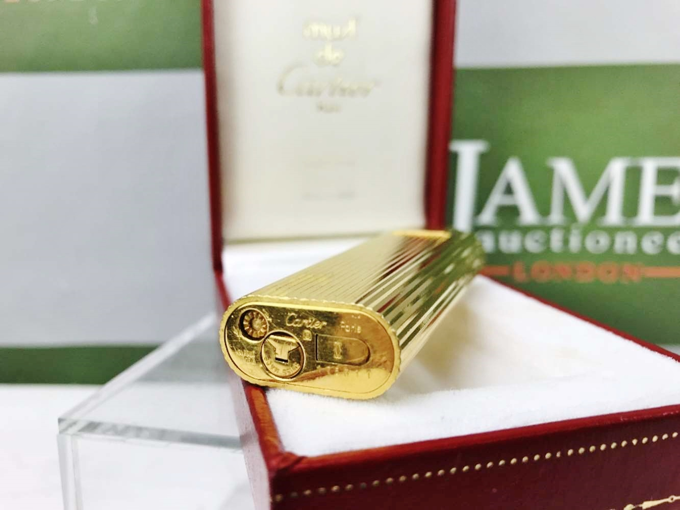 Lot 2 - Cartier 18 Carat Gold Plated Working Lighter With Original Box