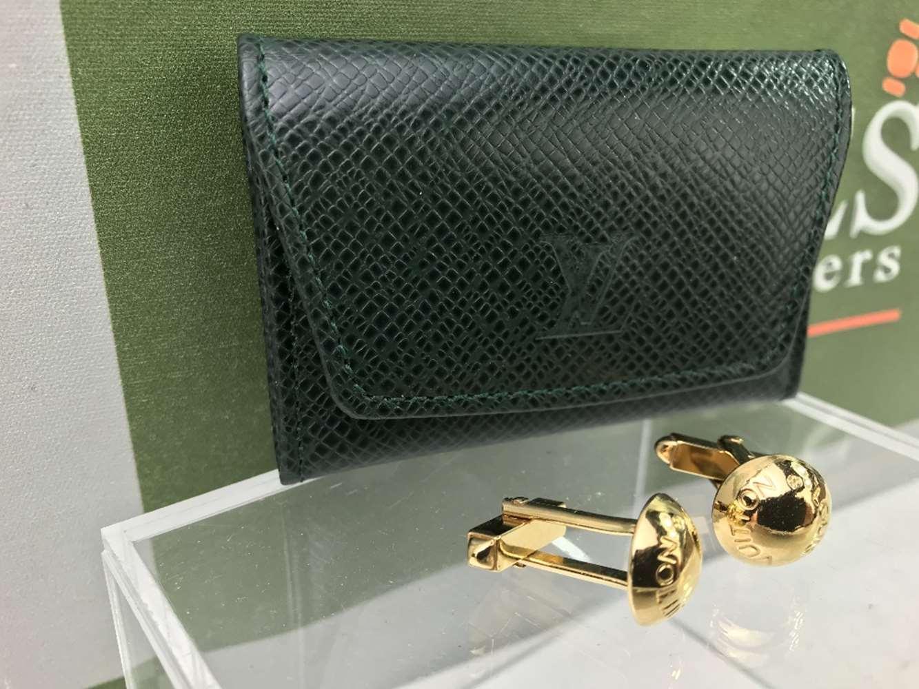Lot 10 - Louis Vuitton Gold Plated Cufflinks In Original Case