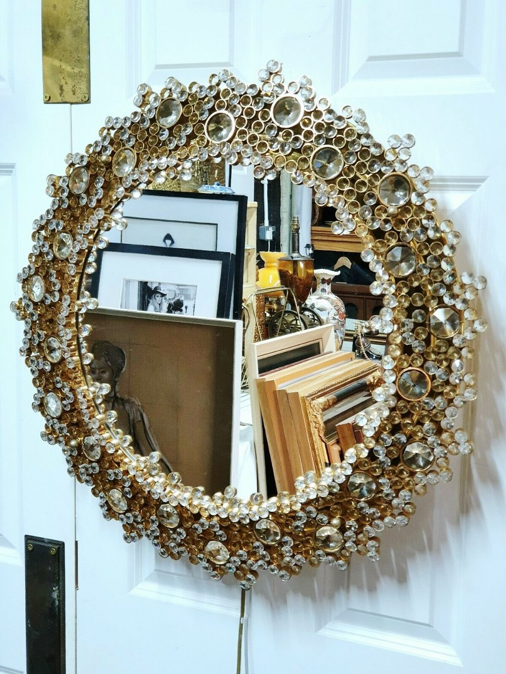 Lot 16 - Mid Century Modern PALWA Gilded Brass Backlit Crystal Glass Round Mirror