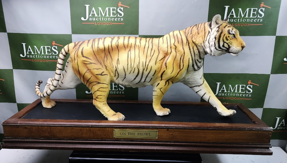 "Lot 24 - Franklin Mint Tiger ""On The Prowl"" Large 25 inch On Plinth Example"